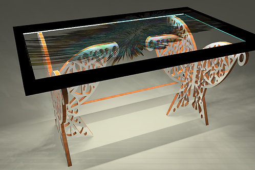 Table tableau - Painting table  : Plumes 8
