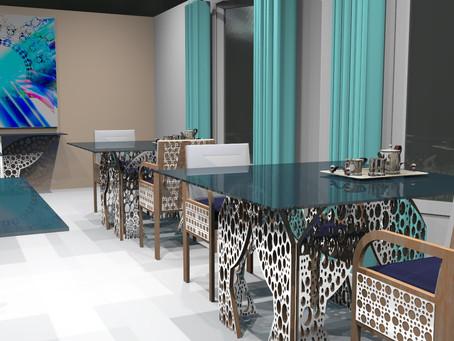 L'ambiance est donnée par les tables Cerclum de Jean Hubert Niffac dans la salle d'un restaurant