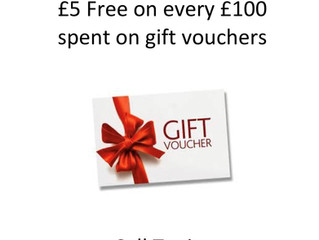 GET £5 FREE ON £100 SPENT ON GIFT VOUCHERS