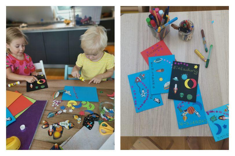 Einladung Kindergeburtstag Weltraum Astronaut Planeten 5. Geburtstag, Katharina rührt