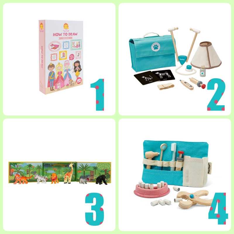 Geschenklideen Vorschulkinder, How to draw, Safari-Tiere, Tierarzt-Set, Zahnarzt-Set