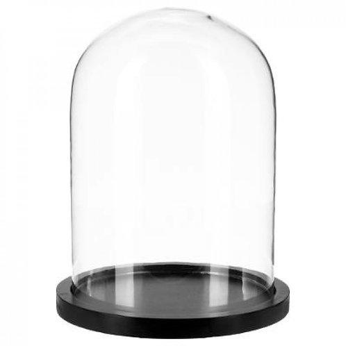 Glasglocke mit Holzsockel schwarz