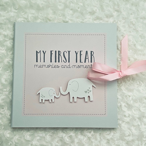 Personalised My First Year Record Book / Baby Photo Album In Pink, First Year Me