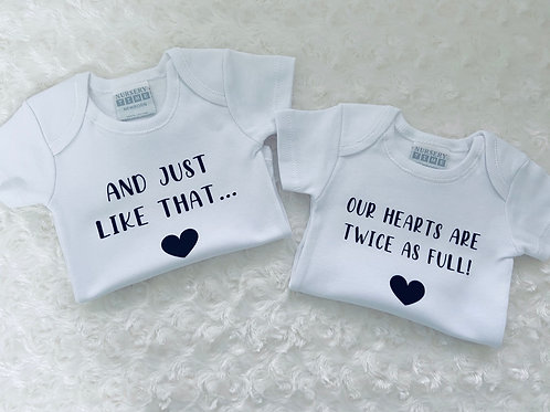 Twin Baby gifts/Pregnancy Announcement vest, Unisex Baby Shower