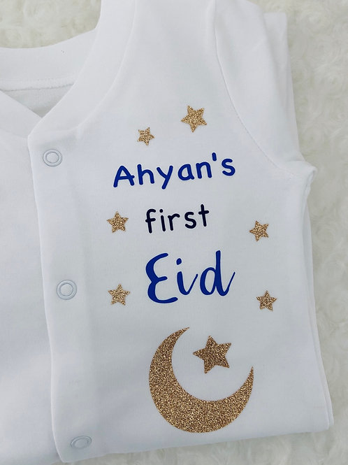 Personalised Eid baby grow/sleepsuit, Ramadan Gifts, Gifts for Eid, Baby's First