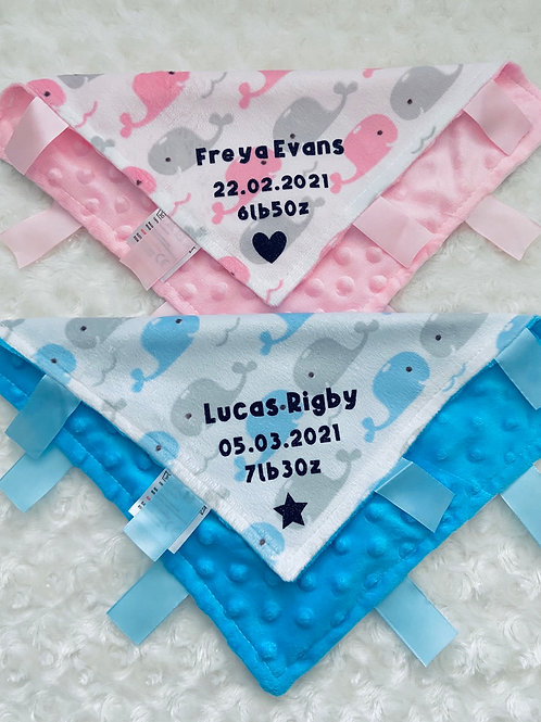 Personalised Baby Girl/Boy Comforter Blanket/Soother, Gift for newborn,