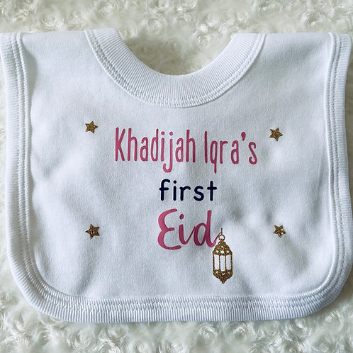 Personalised Baby's First Eid Bib, Islamic Gifts for Kids, Baby Bibs