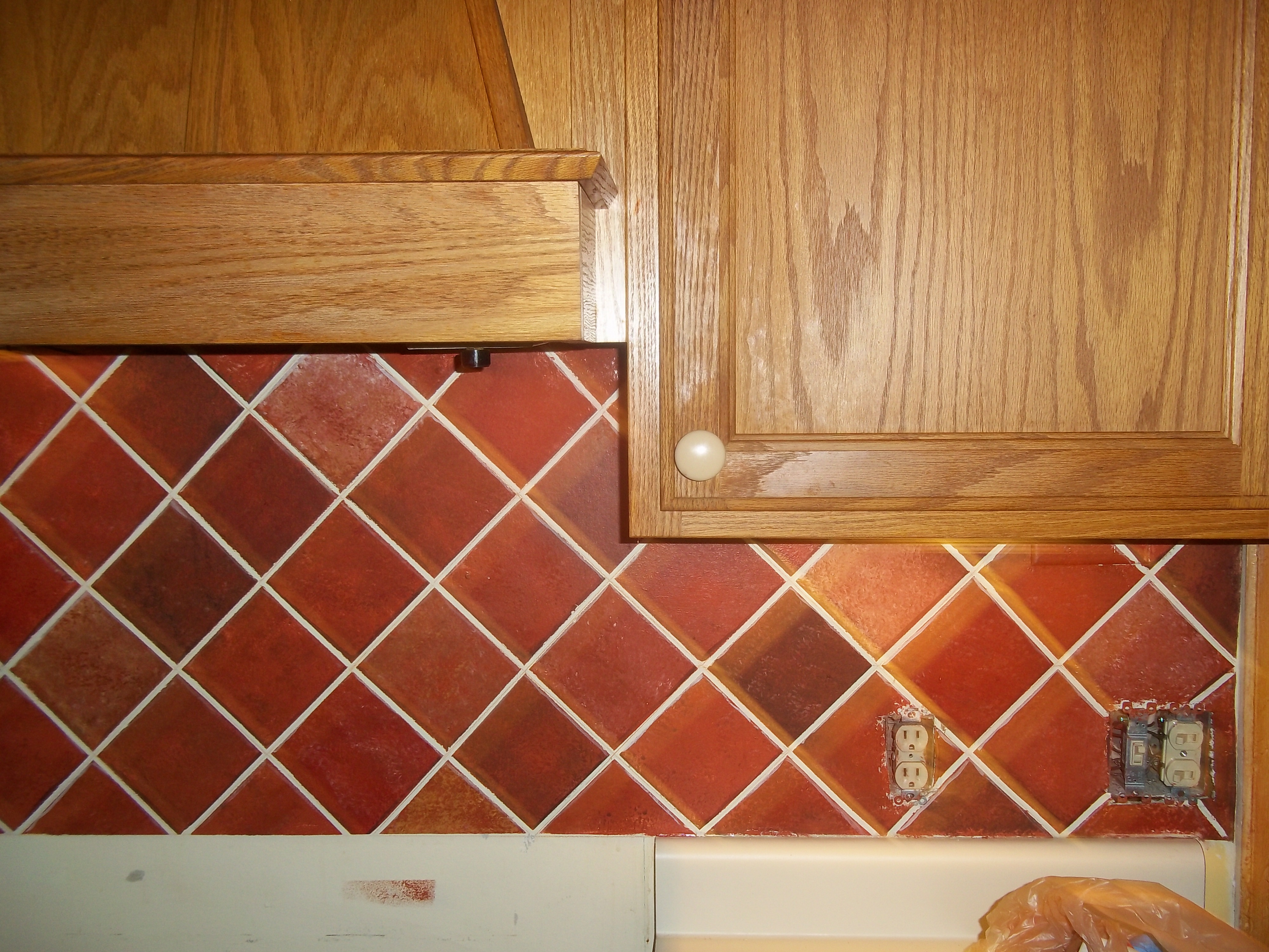 faux tile backsplash