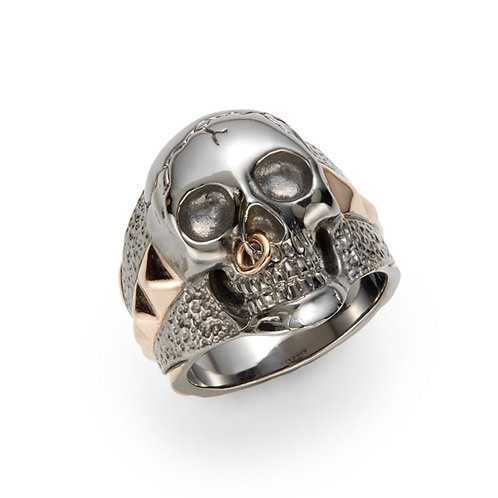 Stephen Webster Black Rhodium and Rose Gold plated Silver Skull Ring