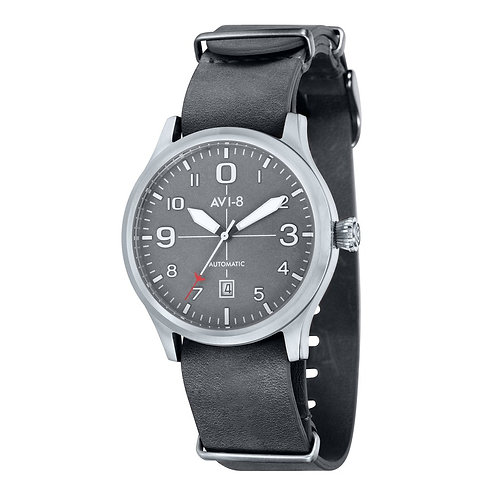 AVI-8 Flyboy Analogue Watch with NATO Grey Leather Strap, AV-4021-0B