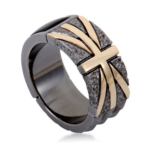 Stephen Webster Onxy and Rose Gold Union Jack Ring