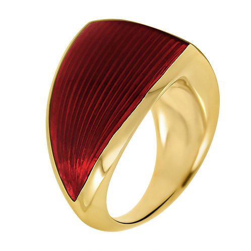William Cheshire Gold Vermeil Libertine Ring with Translucent Red Enamel