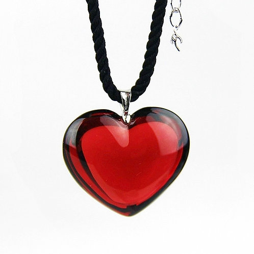 Baccarat Glamour Ruby Heart Pendant with Black Cord