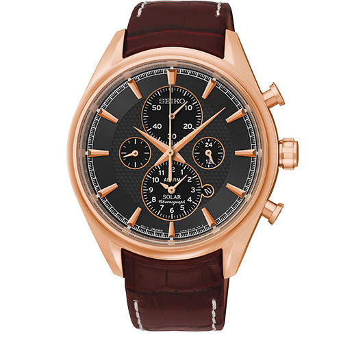 Seiko Men's Rose Gold Solar Alarm Chronograph Watch, SSC212P1