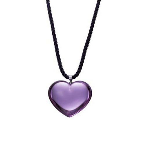Baccarat Glamour Violet Heart Pendant with Black Cord