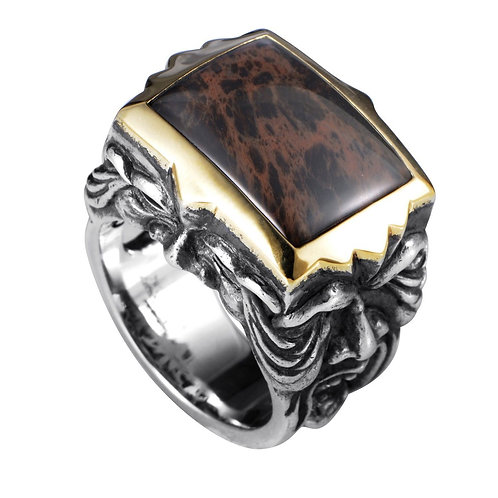 Stephen Webster Two Faced Gargoyle Ring with Gold Set Inlay