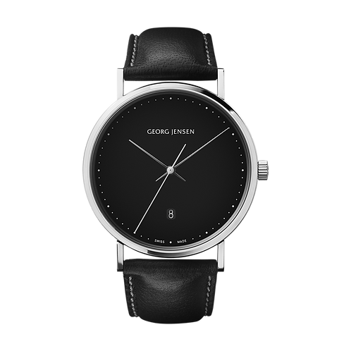 Georg Jensen Black Quartz Date Watch - HK303