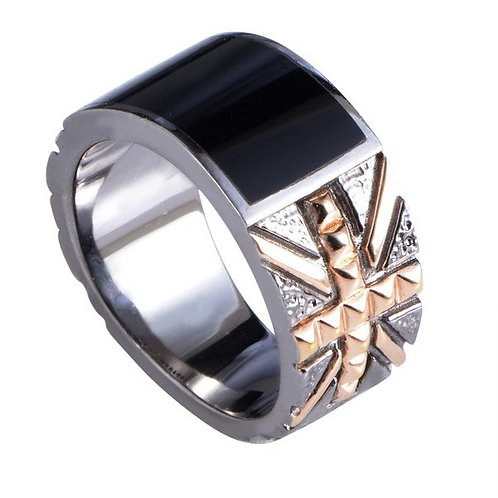 Stephen Webster Rose Gold Union Jack Band Ring with Onyx Inlay