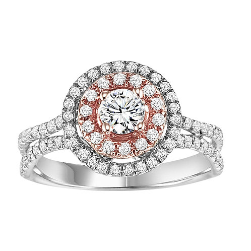18ct White & Rose Gold 1ct Diamond Double Halo Cluster Ring