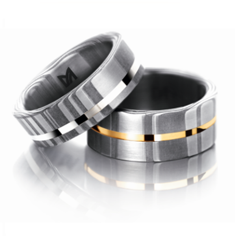 Meister Damascus Steel Ring with 18ct Gold Inlay