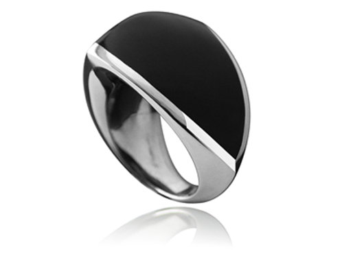 William Cheshire Silver Libertine Ring with Black Resin Inlay