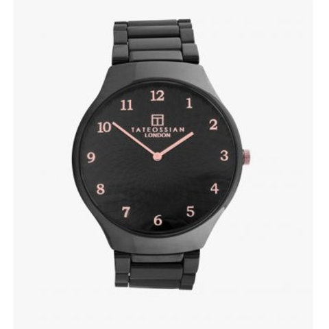 Tateossian Keramikos 'Guilloche' Ceramic Watch with Black MOP Dial, WA0086