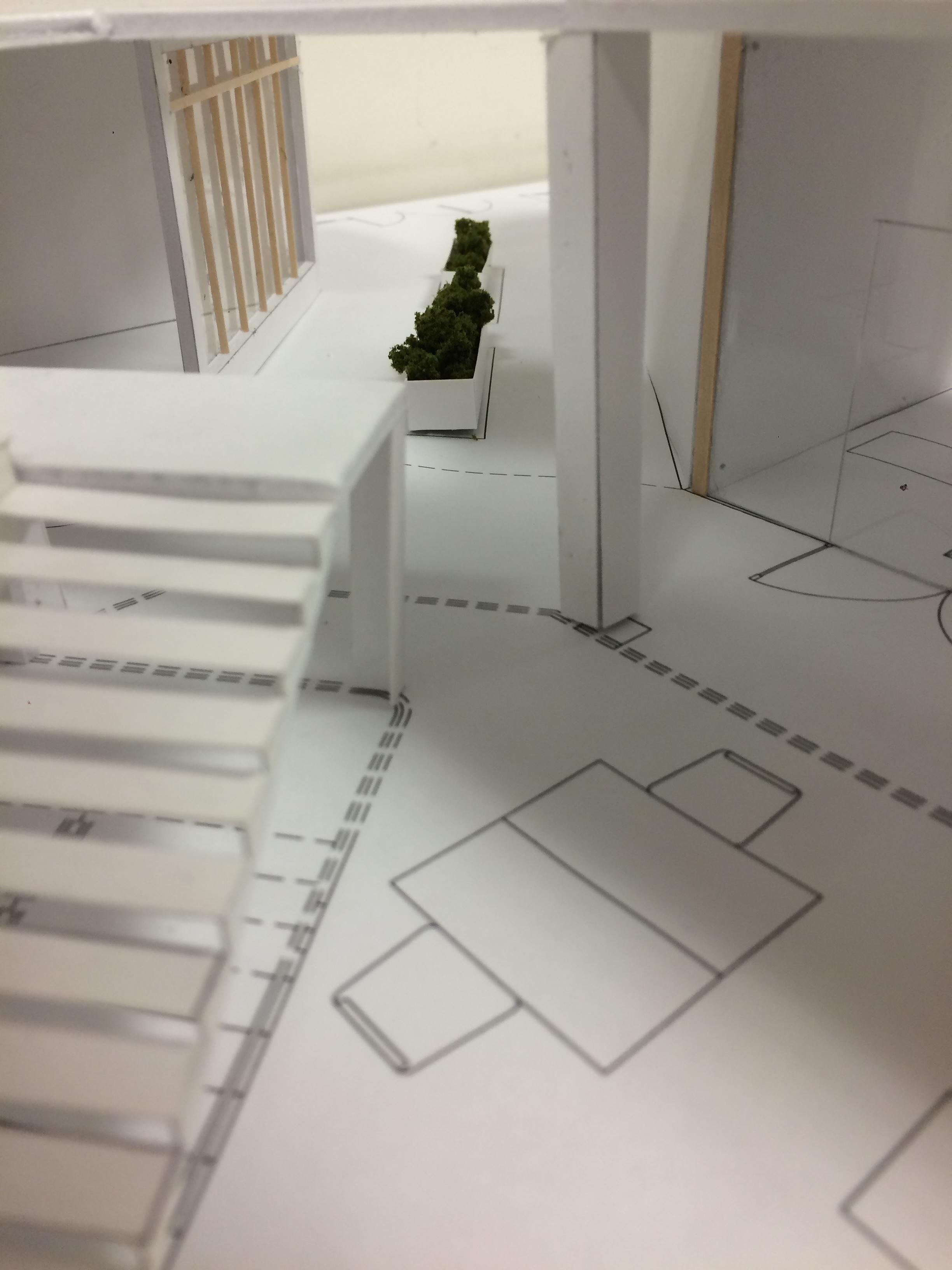Hallway with planter