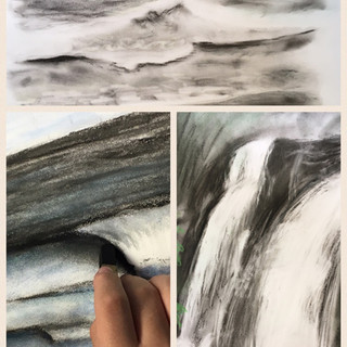 College group studing water,medium pencil and charcoal.