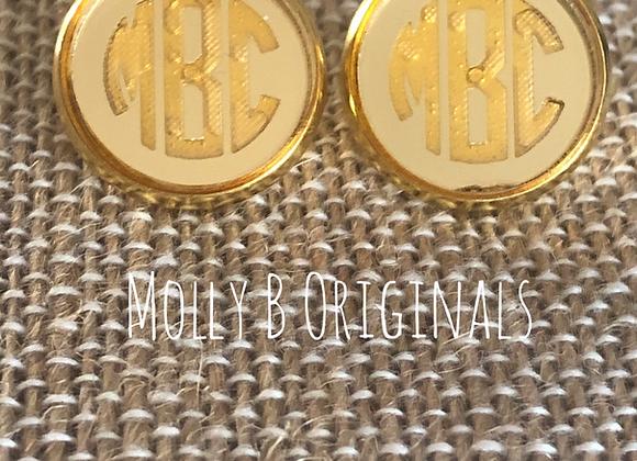 Monogram Stud Earrings