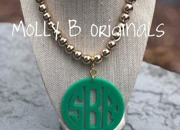Gold bead Monogram Necklace©️