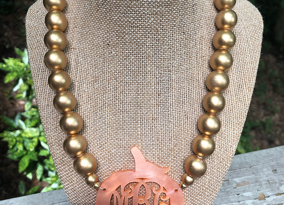 Monogram Pumpkin Necklace