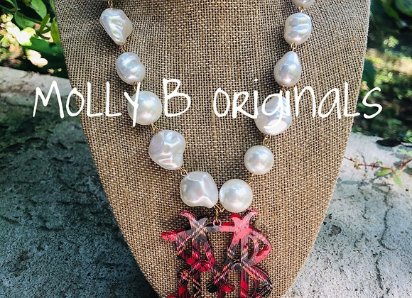 Holiday Plaid Freshwater Pearl Necklace©️