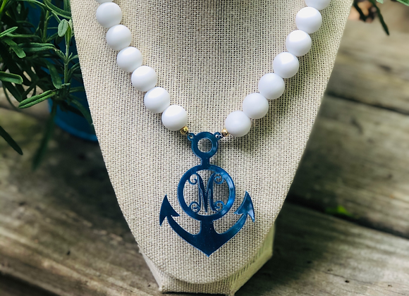 Anchors Away Monogram Necklace