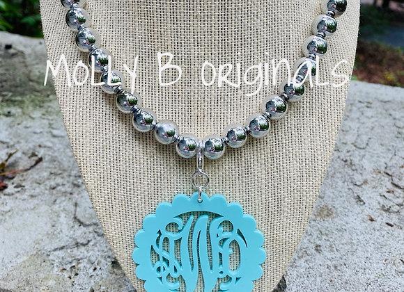 Molly B Silver Momogram Necklace ©️