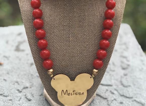 Mickey Gold Monogram Necklace