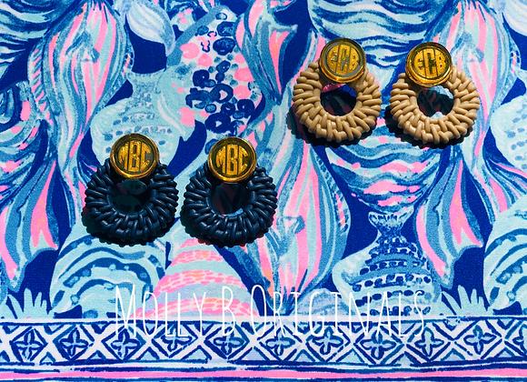 Monogram Rattan Acrylic Earrings