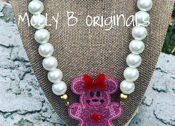 Minnie Holiday Gingerbread Necklace