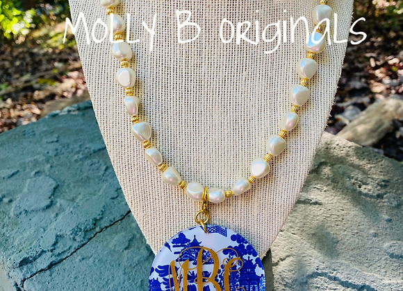 Molly B Freshwater Pearls and Chinoiserie Necklace