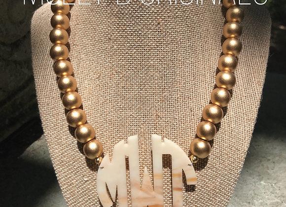 Blonde Tortoise Monogram Necklace ©️