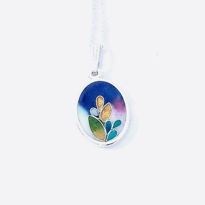 Blue oval bloom pendant