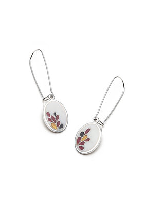 White and red bloom oval earrings