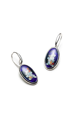 Blue oval earrings with floral designs