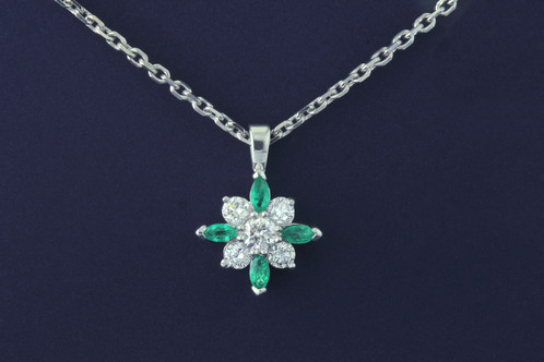 Platinum and 18kt white gold diamond and emerald pendant best white gold diamond and emerald pendant mozeypictures Choice Image