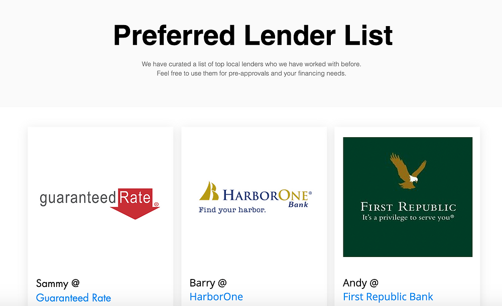 Nuhom preferred lender list