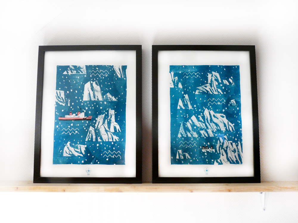 Illustrations Icebergs - risographie