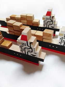 Porte-conteneur en bois sérigraphié