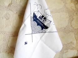 Torchon bateau - linge ancien