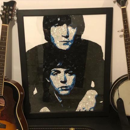 """John & Paul 22""""x28"""" guitar picks sold"""