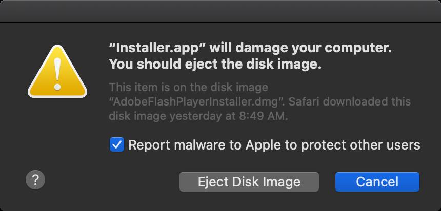 Shlayer malware sample blocked by Gatekeeper (Patrick Wardle)