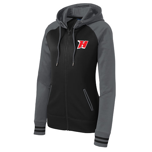 Ladies Embroidered 'H' Zipper Hoodie, Black/Dark Smoke Grey #LST236